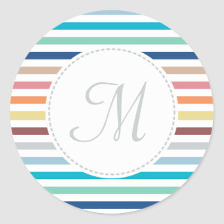 Chic Monogram Pastel Rainbow Horizontal Stripes Classic Round Sticker