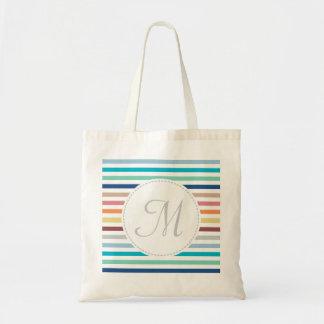 Chic Monogram Pastel Rainbow Horizontal Stripes Tote Bag