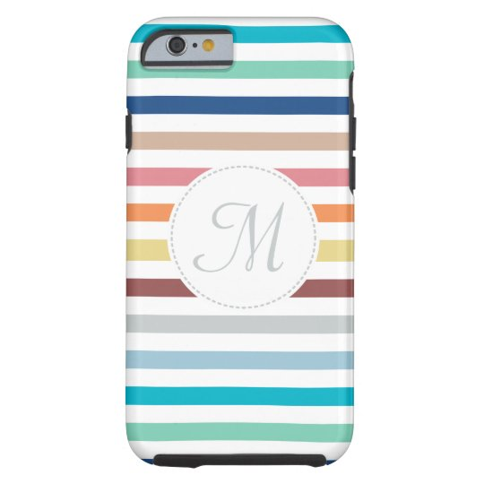 Chic Monogram Pastel Rainbow Horizontal Stripes Tough iPhone