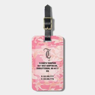 Chic Monogram Pink Camouflauge Luggage Luggage Tag