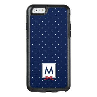 Chic Monogram Red Ribbon Blue Polka Dot Pattern OtterBox iPhone 6/6s Case