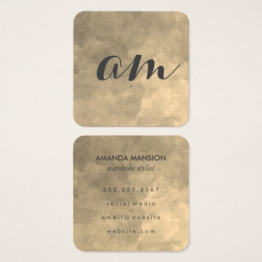 Chic Monogram Sepia Background Square Business Card