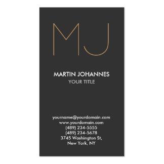Chic Monogram Vertical Elegant Grey Business Card