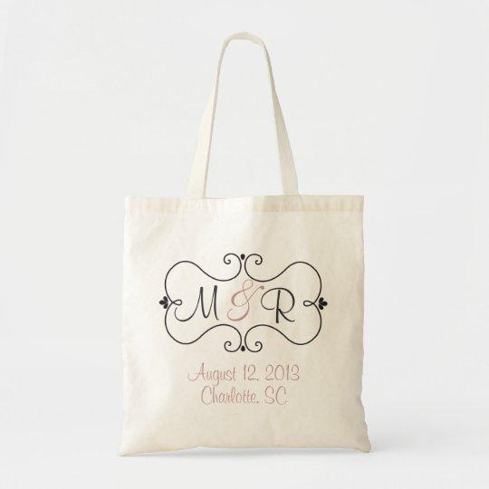 Chic Monogram Wedding Guest Tote Bag Favour