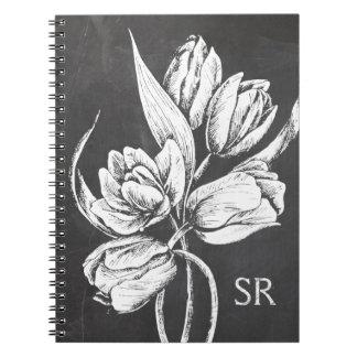 Chic Monogrammed chalkboard tulips Notebooks