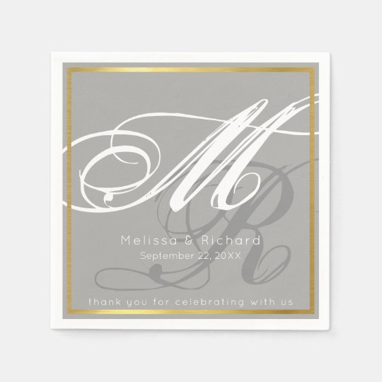 chic monogrammed grayish wedding reception party paper napkins