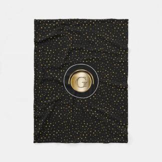 Chic Monogrammed | Modern Black Gold Dots Fleece Blanket