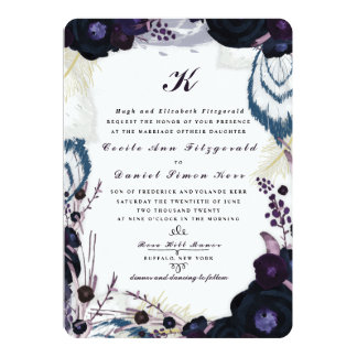 Chic Monogrammed Purple Floral Winter Wedding Card