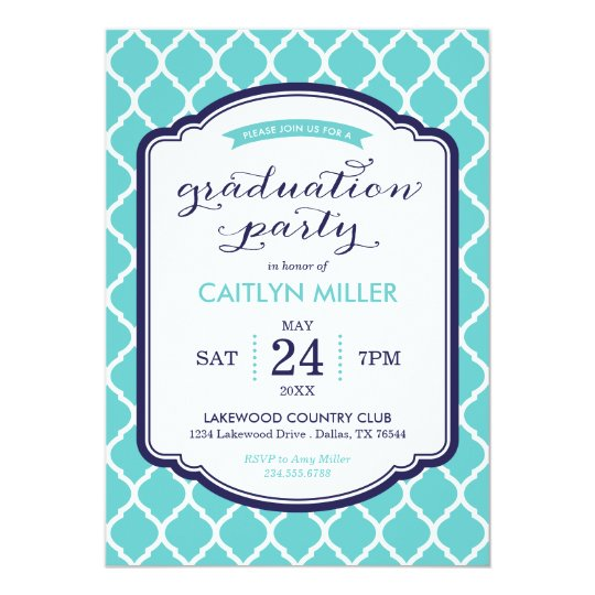 Chic Moroccan Graduation Party Invitation