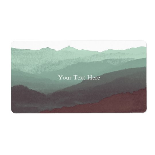 Chic Mountian Watercolor   Blue & Violet   Custom Shipping Label