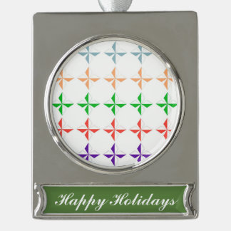 Chic multi color diamond star elegant modern girly silver plated banner ornament