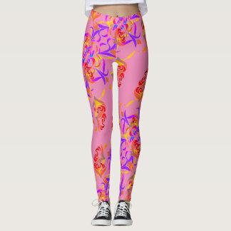 Chic Multicolor floral pattern soft pink Leggings
