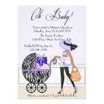 Chic Mum and Buggy with Gifts Invite