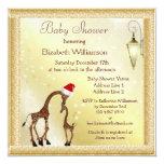 Chic Mum & Baby Giraffe Christmas Baby Shower Personalized Announcements