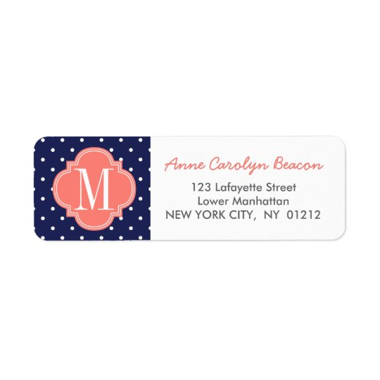 Chic Nautical Navy Polka Dots Coral Personalised Return Address Label
