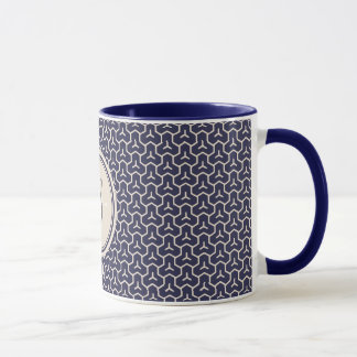 Chic navy abstract geometric pattern monogram mug