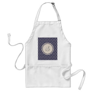 Chic navy abstract geometric pattern monogram standard apron