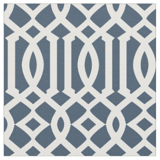 Chic Navy Blue and White Trellis Lattice Pattern Fabric