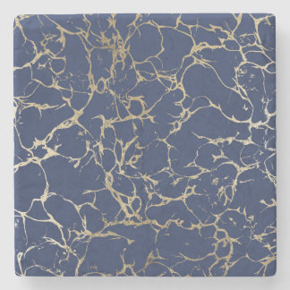 Chic navy blue faux gold foil marble pattern stone coaster