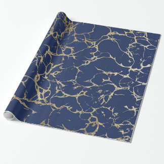 Chic navy blue faux gold foil marble pattern wrapping paper