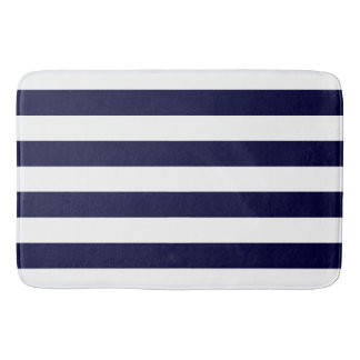 Chic Navy Blue Stripes Pattern Bath Mat