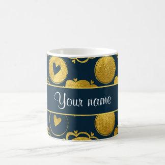 Chic Navy Hearts Gold Circles Basic White Mug