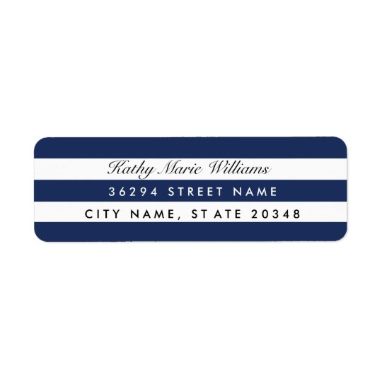 Chic Navy Striped Address Labels