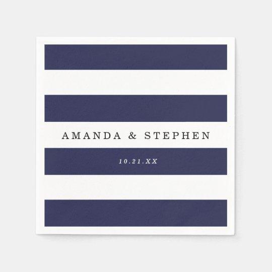 Chic Navy Stripes Wedding Paper Napkins