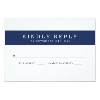 Chic Navy Stripes Wedding RSVP 9 Cm X 13 Cm Invitation Card