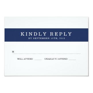 Chic Navy Stripes Wedding RSVP Card