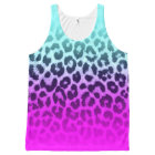 Chic Neon Aqua Hot Pink Leopard Print All-Over Print Tank Top