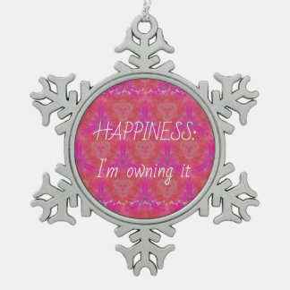 Chic Neon 'Owning Happiness Pewter Snowflake Decoration