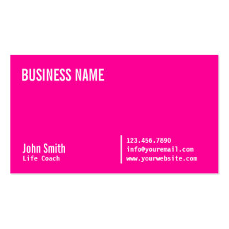 Chic Neon Pink Life Coach Business Card