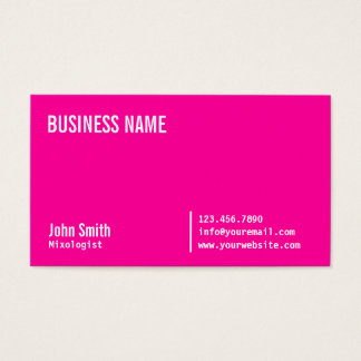 Chic Neon Pink Mixologist Business Card
