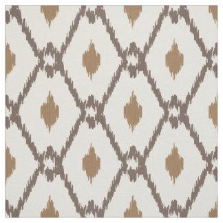 Chic neutral brown beige ikat diamond pattern fabric