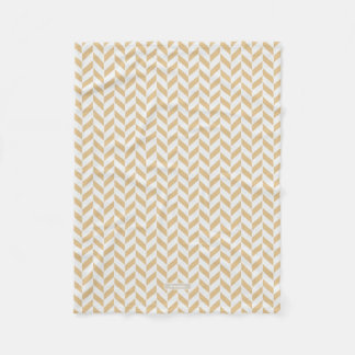 Chic neutral gold white geometric zigzag pattern fleece blanket