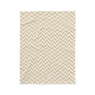 Chic neutral gold white geometric zigzag pattern blanket
