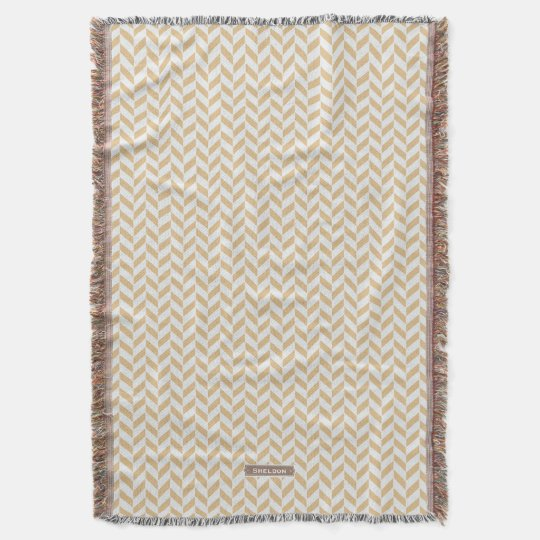 Chic neutral gold white geometric zigzag pattern throw