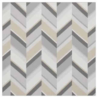 Chic neutral grey beige geometric zigzag pattern fabric