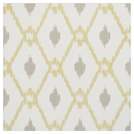 Chic neutral yellow taupe ikat diamond pattern fabric