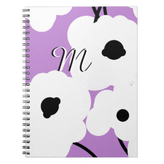 CHIC NOTEBOOK_ MOD WHITE & BLACK POPPIES SPIRAL NOTEBOOK