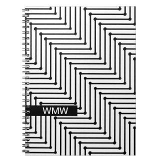 CHIC NOTEBOOK- MODERN WHITE/BLACK ZIGZAG NOTEBOOKS