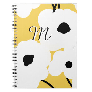 CHIC NOTEBOOK_ WHITE & BLACK POPPIES NOTEBOOK