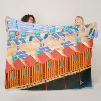 Chic Orange and Blue Cabanas Beach Style Fleece Blanket