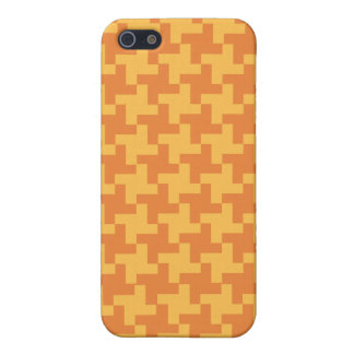 Chic Orange Dogstooth Check Pattern iPhone 5/5S Case