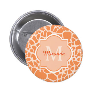 Chic Orange Giraffe Print With Monogram and Name 6 Cm Round Badge