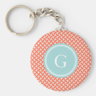 Chic orange herringbone geometric pattern monogram key ring