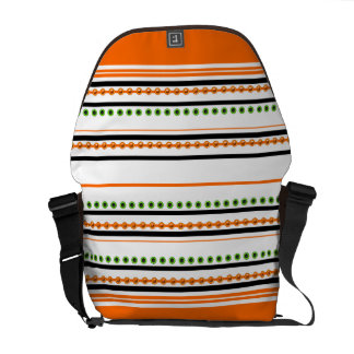 """Chic orange """"racing stripe"""" pattern messenger bag"""
