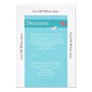 "Chic Origami Birds Wedding Directions Card 5"" X 7"" Invitation Card"