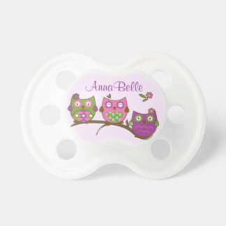 Chic Owls Baby Girl Pacifier